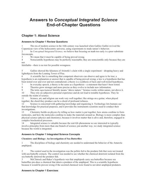 Answers To Conceptual Integrated Science End Of Chapter