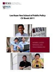 Lee Kuan Yew School of Public Policy CV Book 2011