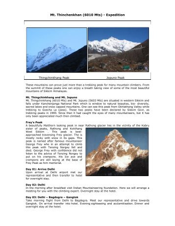 Mt. Thinchenkhan (6010 Mts) - Expedition - Adarsh Tours & Travels
