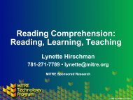 Reading Comprehension: Reading, Learning, Teaching - Mitre