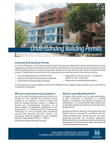 Understanding Building Permits brochure - City of Hamilton