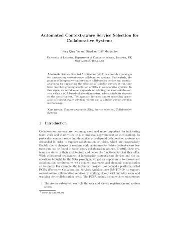Automated Context-aware Service Selection for Collaborative Systems
