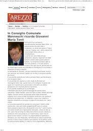 In Consiglio Comunale Manneschi ricorda Giovanni Maria Tenti