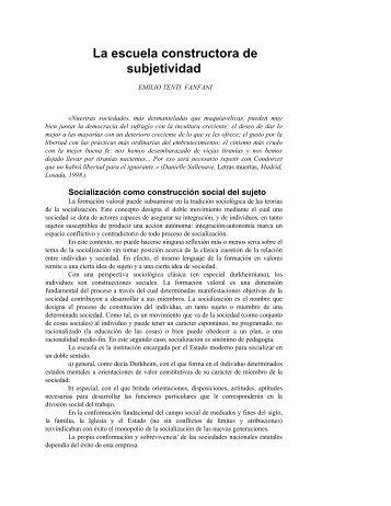 La escuela constructora de subjetividad - configuraciones culturales ...