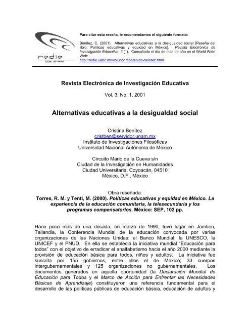 Rosa María Torres y Emilio Tenti, Políticas educativas y ... - Redie