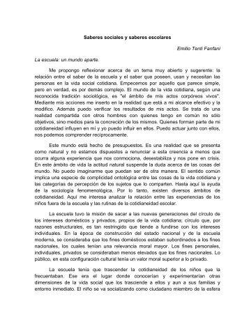 """Tenti Fanfani, Emilio (2000) """"Saberes_sociales_y_saberes_escolares"""""""
