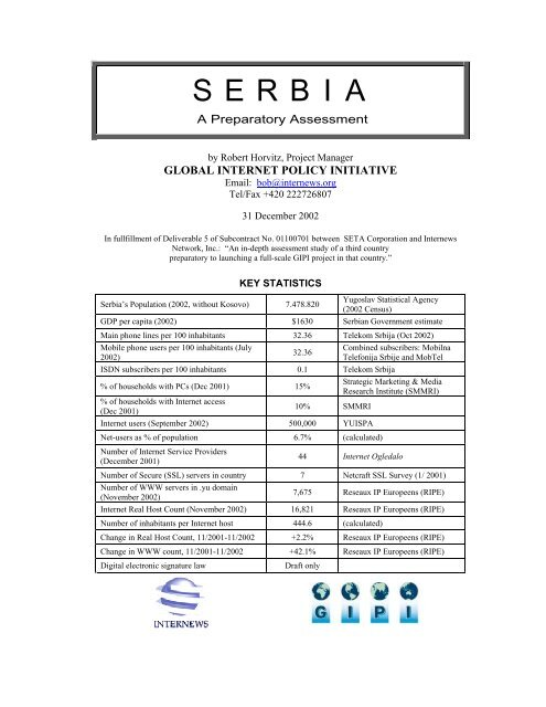 S E R B I A Global Internet Policy Initiative