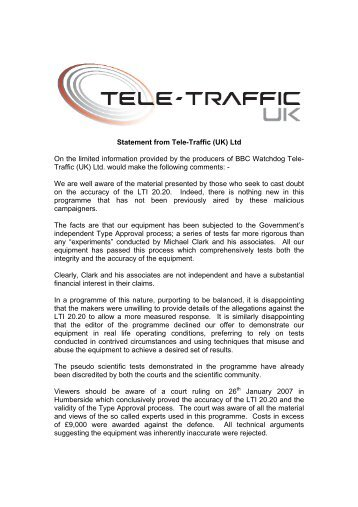 Statement from Tele-Traffic (UK) Ltd On the limited information ...