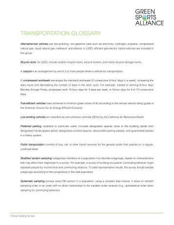 Transportation Glossary and Resources - Green Sports Alliance