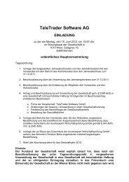 TeleTrader Software AG - Products - TeleTrader.com