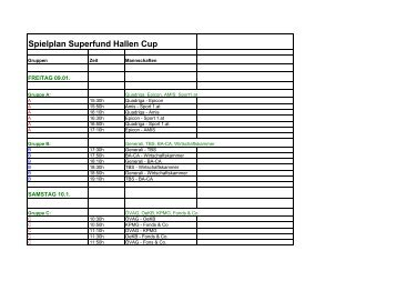 Spielplan Superfund Hallen Cup