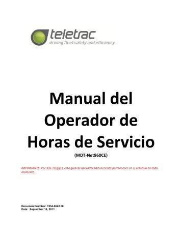 Manual del Operador de Horas de Servicio (MDT ... - Teletrac 20/20
