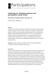 Twittering on: Audience research and participation ... - Participations
