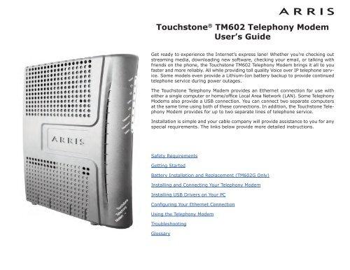 ARRIS TOUCHSTONE TELEPHONY MODEM TM602 WINDOWS 10 DRIVER DOWNLOAD