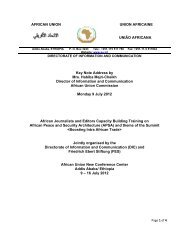 AFRICAN UNION UNION AFRICAINE UNIÃO AFRICANA Key Note ...