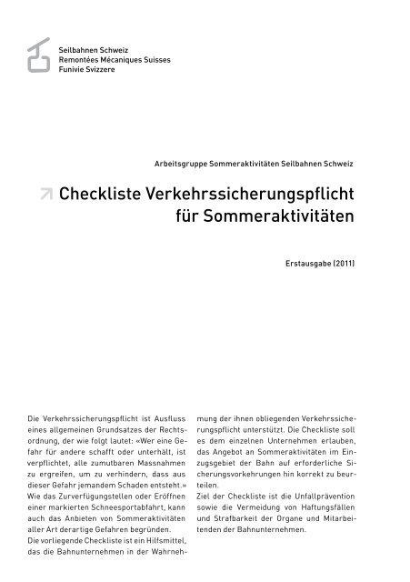 Checkliste Verkehrssicherungspflicht für Sommeraktivitäten