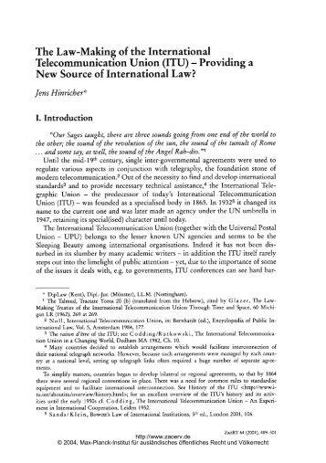 The Law-Making of the International Telecommunication Union (ITU ...