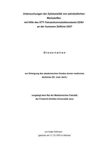 Untersuchungen der Zytotoxizität von zahnärztlichen Werkstoffen mit ...