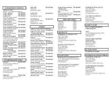 Business Directory 0109 - Experience Garnett