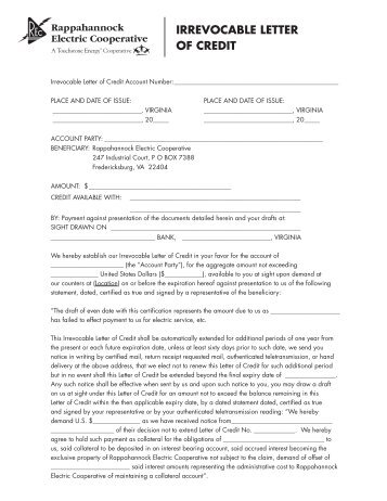 irrevocable letter of credit application for irrevocable documentary credit dc 22600