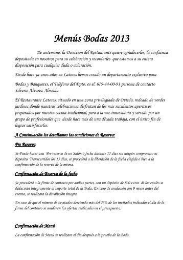 Menús Bodas 2013 - Restaurante Latores