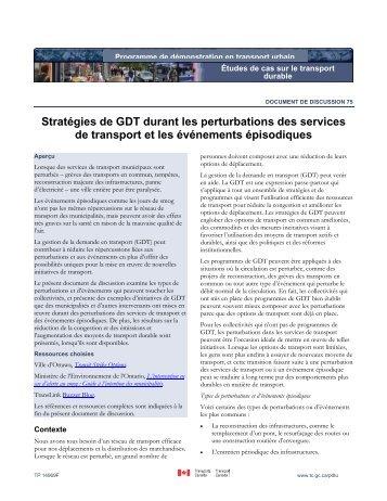 Stratégies de GDT durant les perturbations des services de ... - FCM