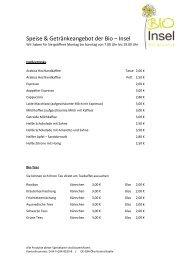 Speise & Getränke Karte PDF - Bio-Insel Stralsund