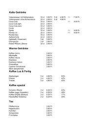 Kalte Getränke Warme Getränke Kaffee Luz & Fertig ... - Altschwand