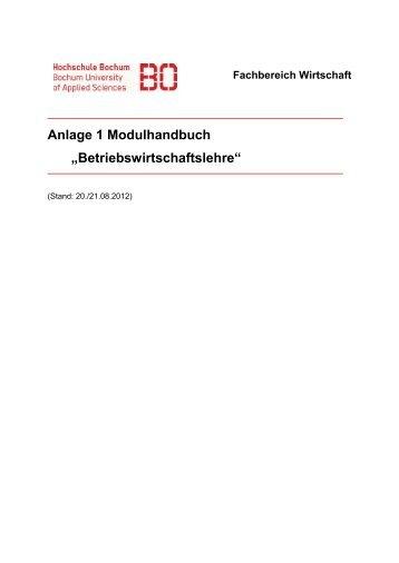 Betriebswirtschaftslehre - Hochschule Bochum