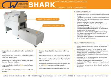 www.cwtec.de SHARKSACHET CUTTER FOR TEA AND COFFEE ...