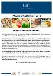 Birke Tagungspauschalen 2013 - Hotel Birke Kiel