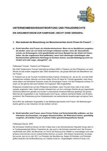 unternehmensverantwortung und frauenrechte - Recht ohne Grenzen