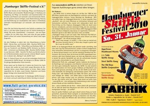 der Flyer - Hamburger Skiffle Festival