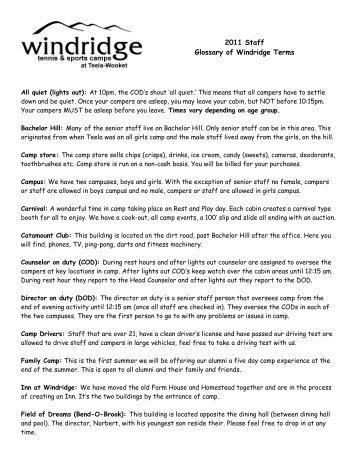 2011 Staff Glossary of Windridge Terms - Windridge Tennis Camps