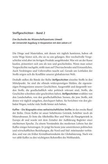 Stoffgeschichten – Band 2 - WissenschaftsZentrum Umwelt ...