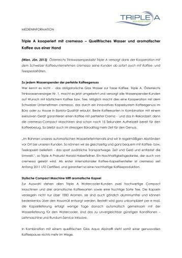 Pressemitteilung Nr. 1/2013: Triple A kooperiert mit