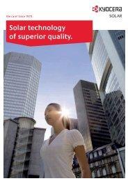 Solar technology of superior quality. - Solarni paneli | Sole