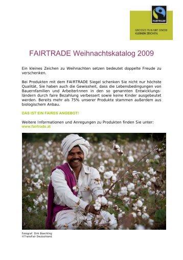 FAIRTRADE Weihnachtskatalog 2009 - Marktcheck.at