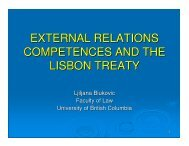 External Competences and the Lisbon Treaty-final - UBC Faculty of ...
