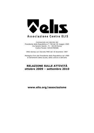Relazione attività Associazione Centro ELIS 2009-10 - TECA ELIS