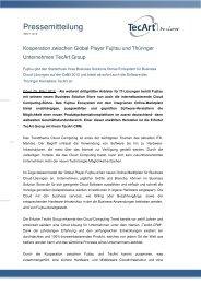 Kooperation zwischen Global Player Fujitsu und ... - TecArt GmbH