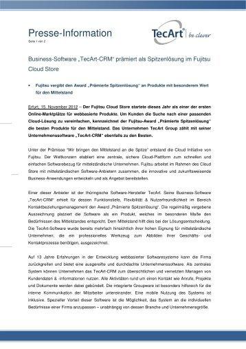 2012-11-15 Business-Software TecArt-CRM prämiert ... - TecArt GmbH