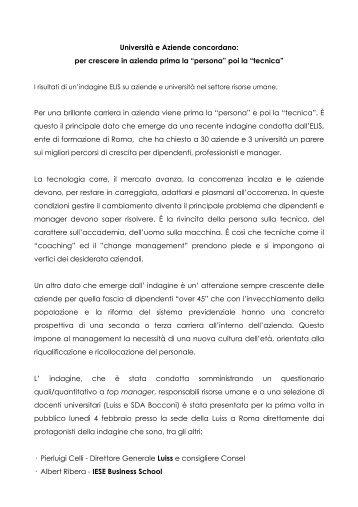 Il comunicato stampa - TECA ELIS