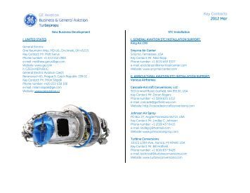 Key Contacts 2012 Mar - GE Aviation