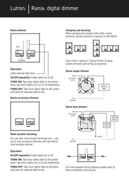 lutron® |rania® digital dimmer - lutron lighting installation