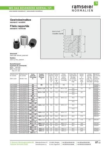 Gewindeeinsätze Reparatursatz [PDF 1,75 MB] - Ramseier-Normalien