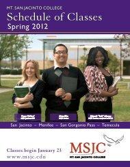 Spring 2012 Schedule of Classes (PDF) - Mt. San Jacinto College