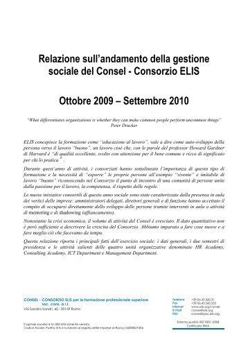 Relazione Consel - Consorzio ELIS 2009-10 - TECA ELIS
