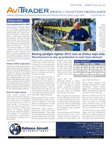 Boeing pledges tighter 2012 race as Airbus tops tally - AviTrader