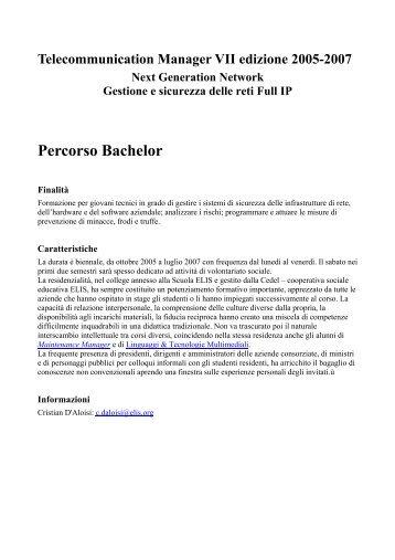 Percorso Bachelor - TECA ELIS